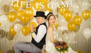 ลูกโป่งงานแต่งงานสีทอง ขาว
